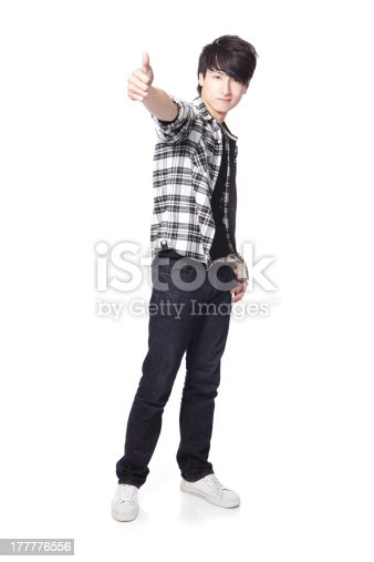 istock young man student show thumb up 177776556