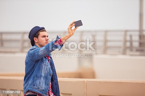 Dubai, Youth Culture, Smartphone, Handsome, Waterfront - Handsome Man Taking a Selfie using Smartphone Near Waterfront