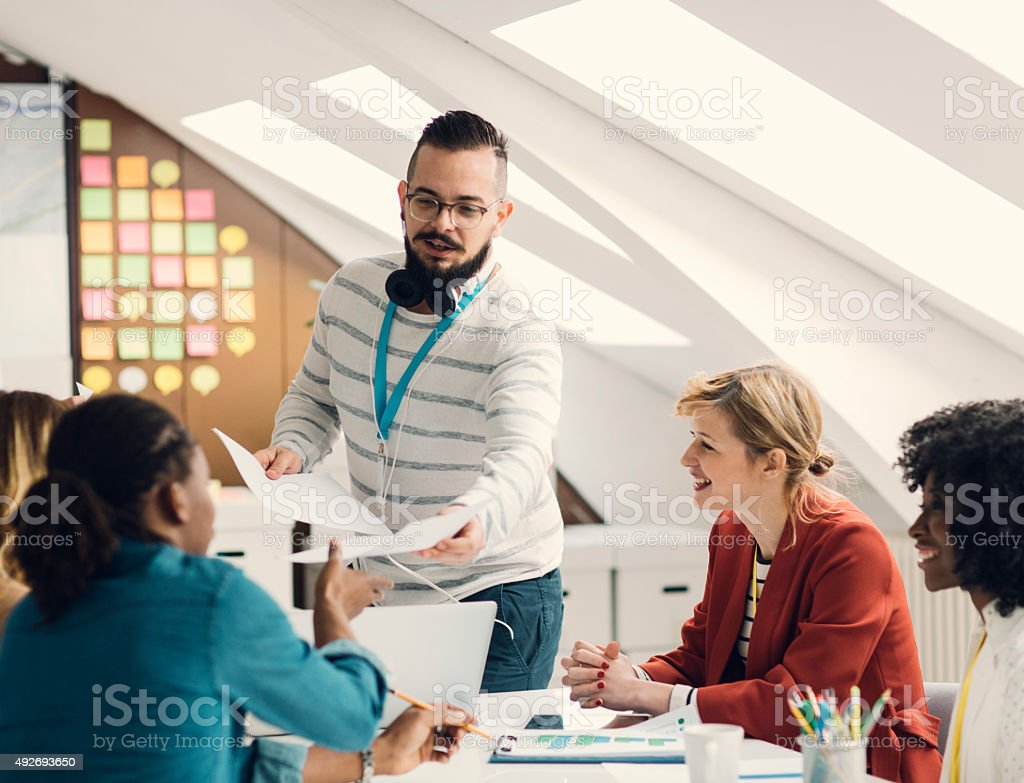 Young Man Talking About Startup Business. stock photo