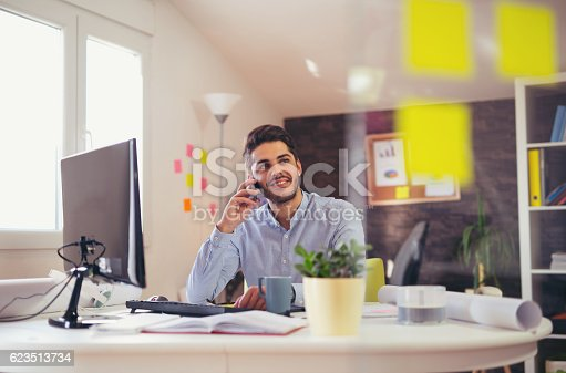 513583458 istock photo Young man talking on phone in office 623513734