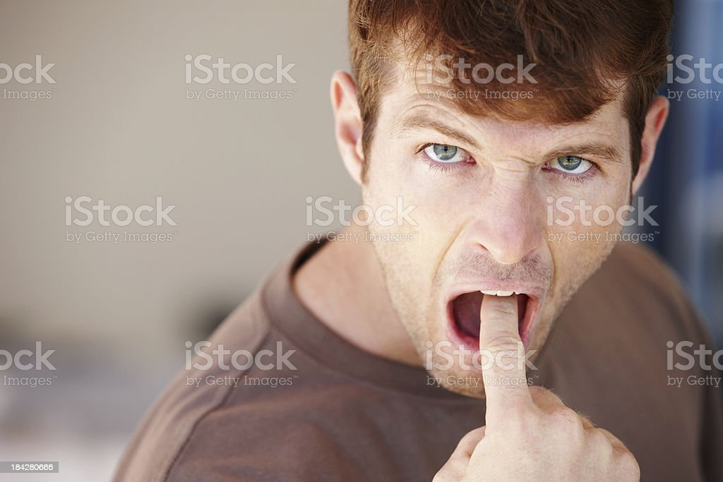 Image result for finger inside mouth man