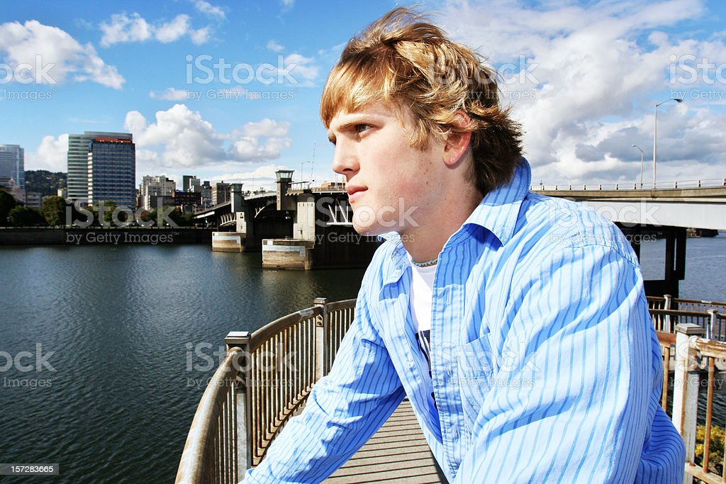 Young Man Thinking Downtown royalty-free stock photo