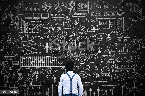 istock Young man thinking idea Concept on blackboard 497054940