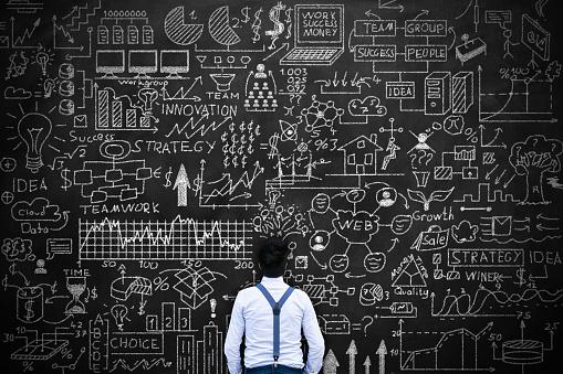 istock Young man thinking idea Concept on blackboard 497054940