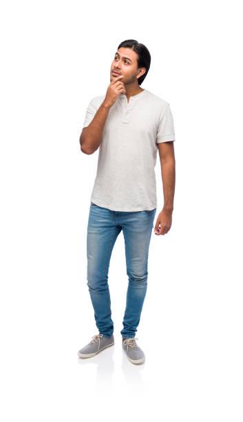 Young man thinking pose stock photo