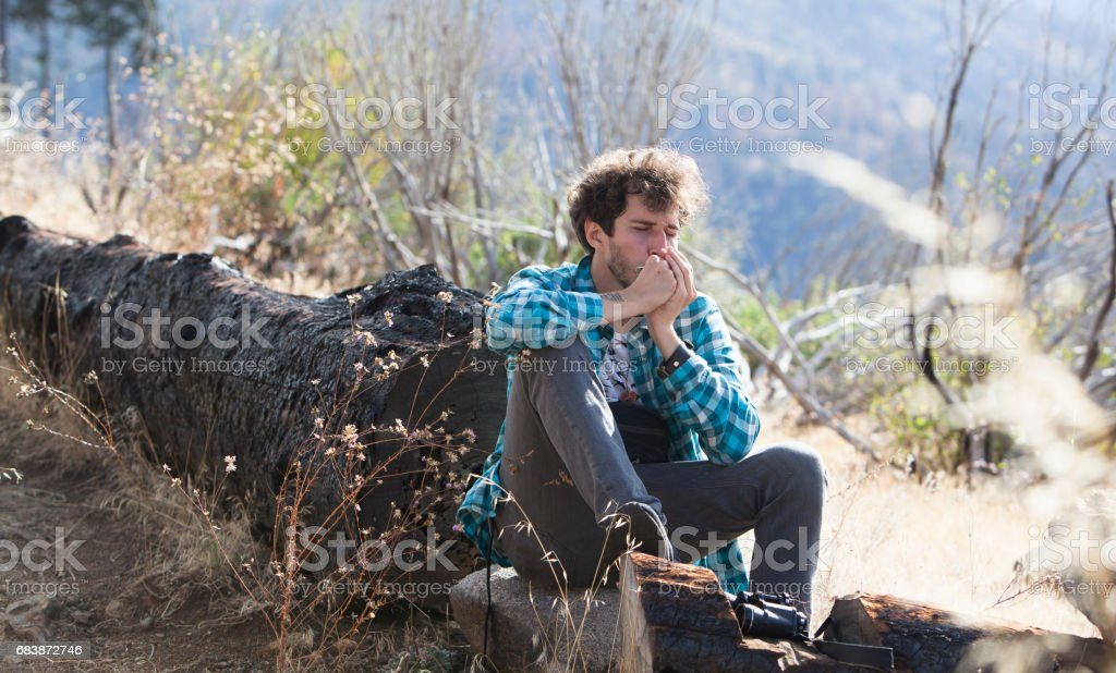 Young man, tourist, hiker and hipster, resting and playing the mouth organ in mountain in Yosemite National Park stock photo