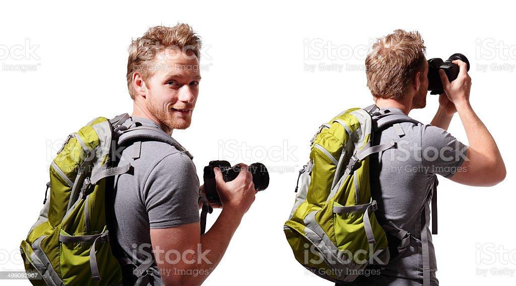 young man tourist use camera stock photo