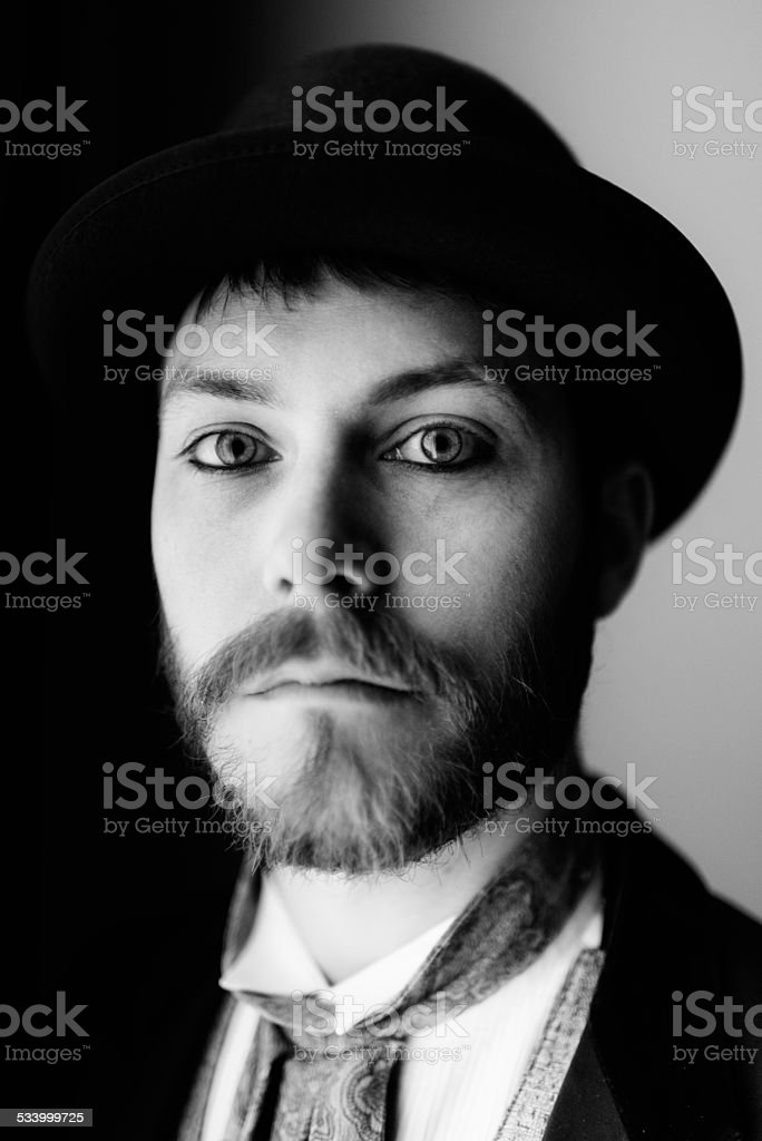 Young Man Traditional Amish People Style Portrait Black and White stock photo