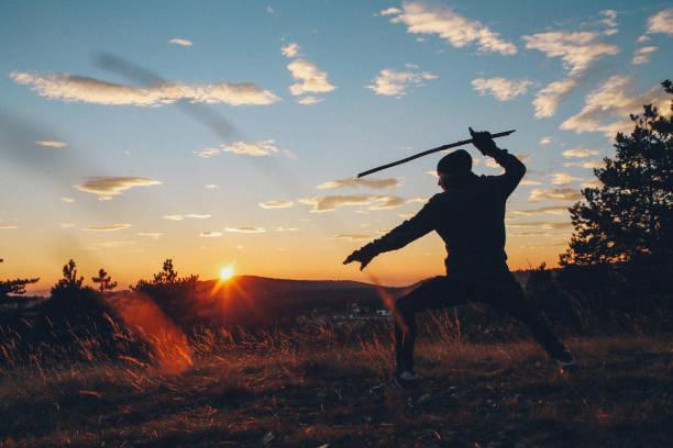 capacitación artes marciales en la naturaleza joven - ninja fotografías e imágenes de stock