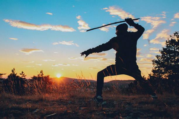 junger mann training kampfkünste in der natur - ninja krieger stock-fotos und bilder