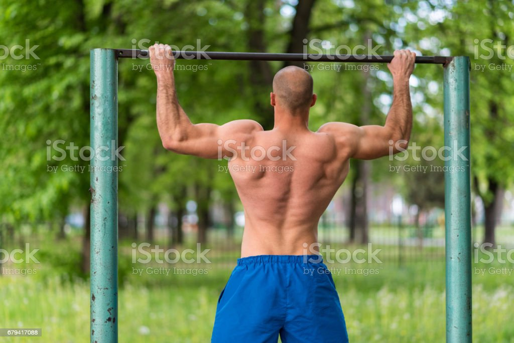 Young man training outside royalty-free stock photo
