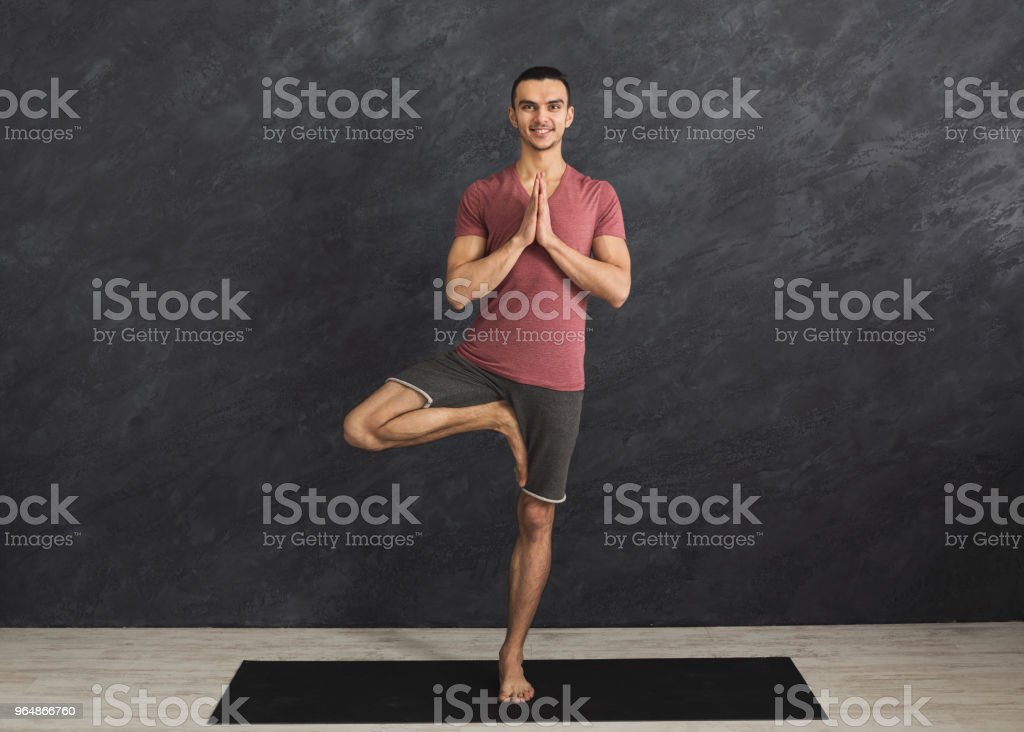 Young man training yoga in tree pose royalty-free stock photo