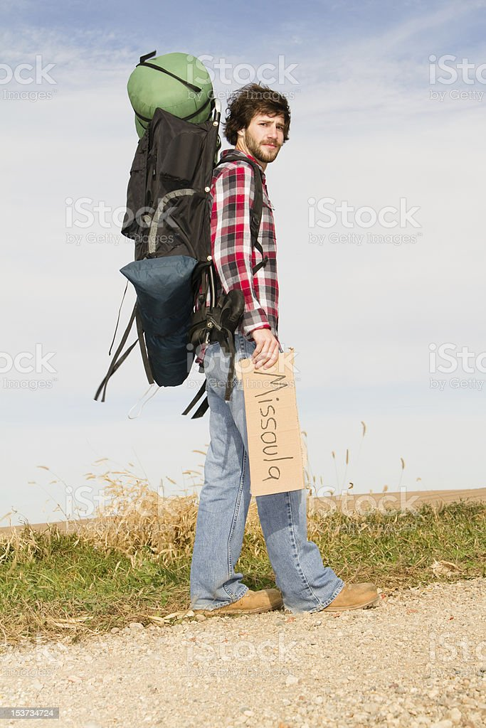 Young Man Traveling To Missoula stock photo
