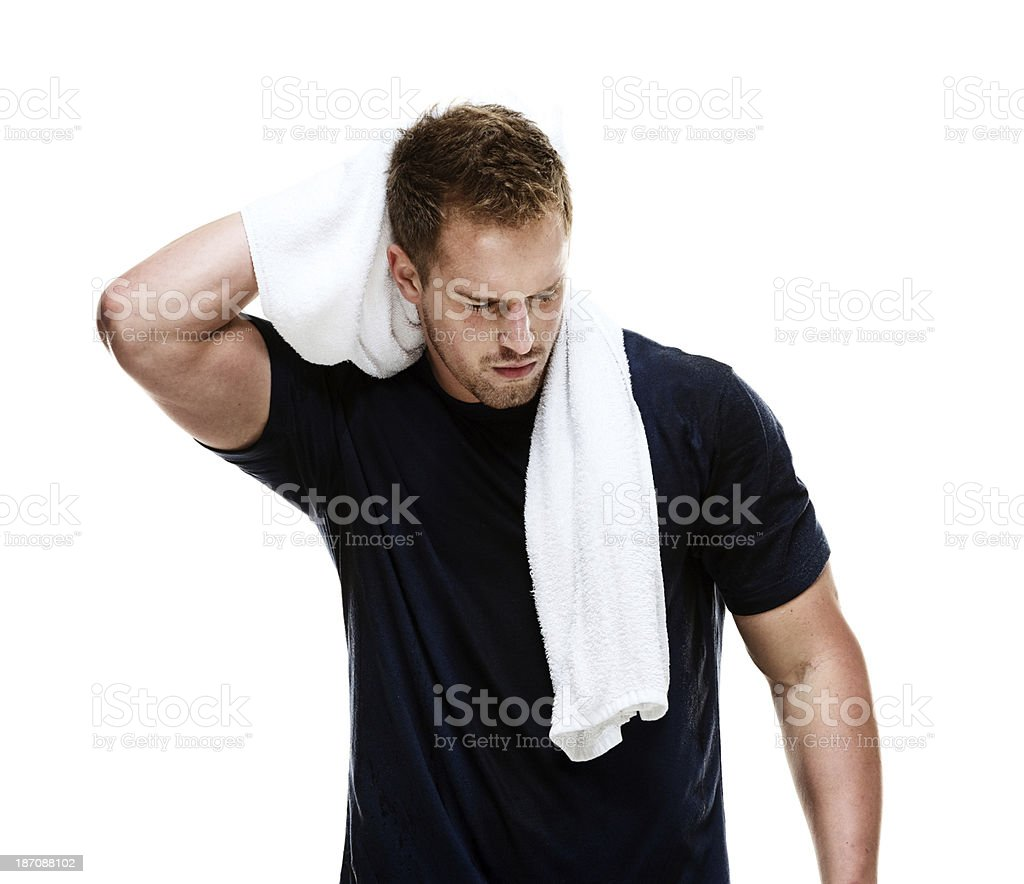 Young man using a towel royalty-free stock photo