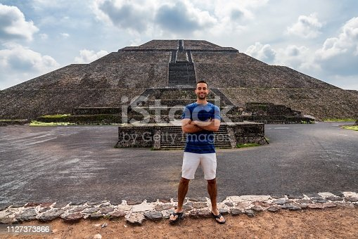Young man visits Teotihuacán Pyramids in Mexico