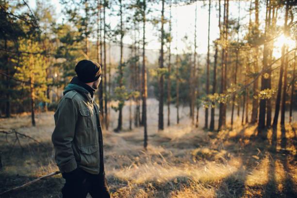 junger mann zu fuß in den wunderschönen wald im freien - ein mann allein stock-fotos und bilder