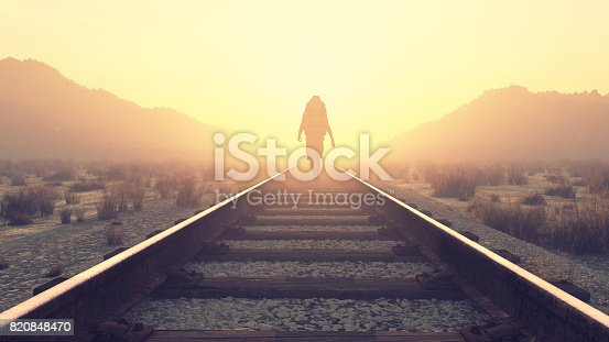 Young man walking on railroad. This is a 3d render illustration