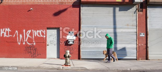 Young man walks dog in Williamsburg, Brooklyn, New York