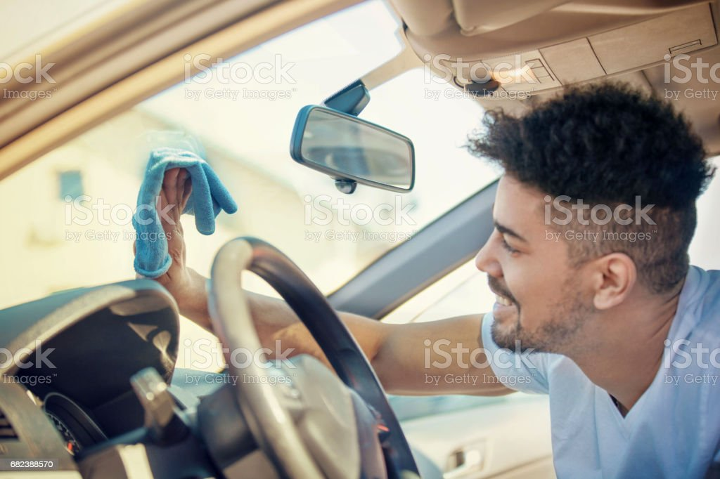 Young Man Washing Car royalty-free stock photo