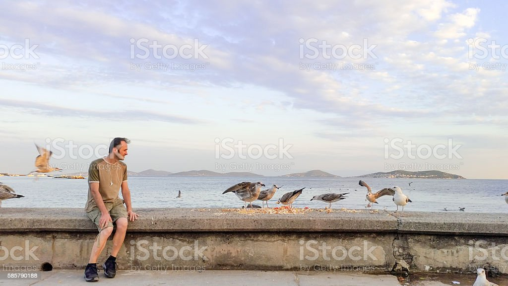 Young Man Watching the Seagulls stock photo
