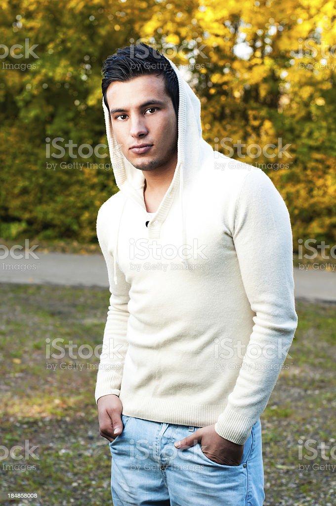 Young man wearing a cool shirt stock photo