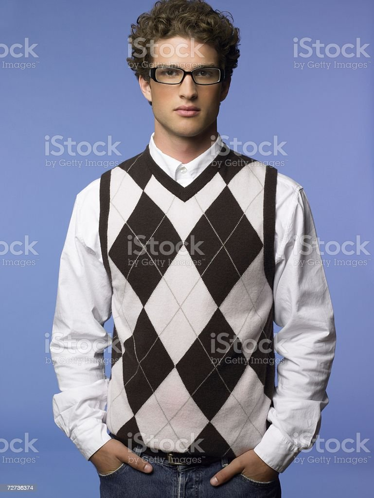 Young man wearing a tank top stock photo