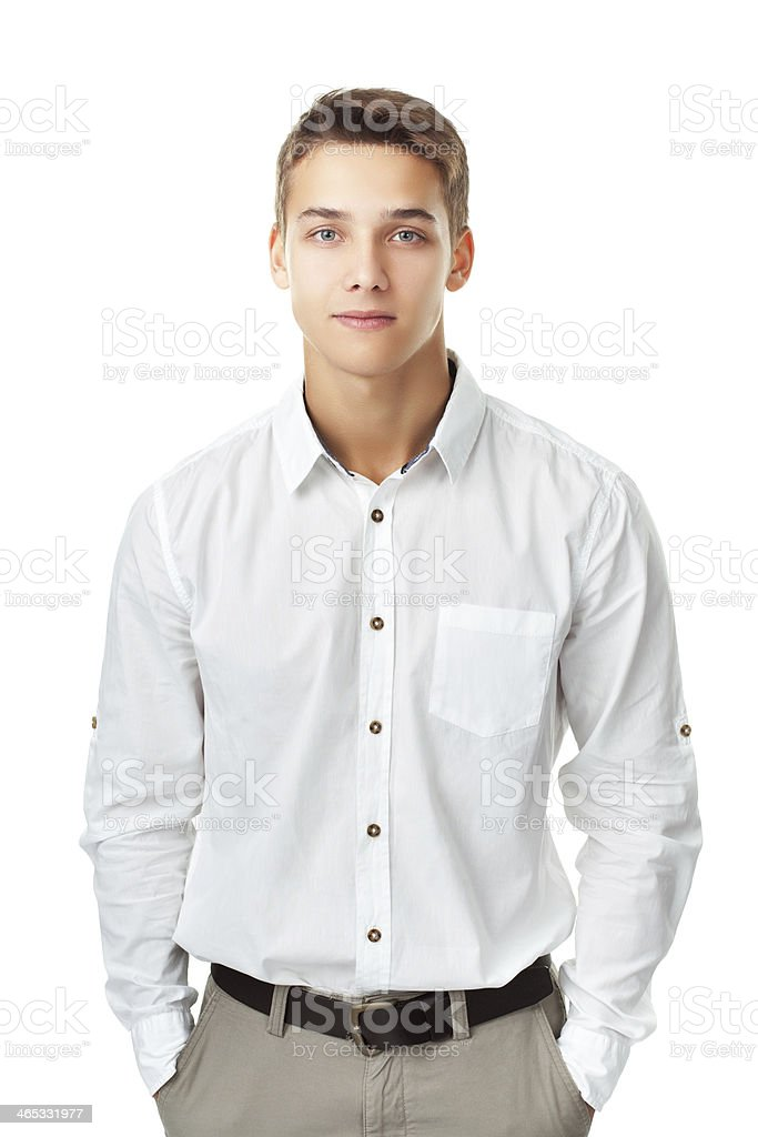young man wearing a white shirt stock photo