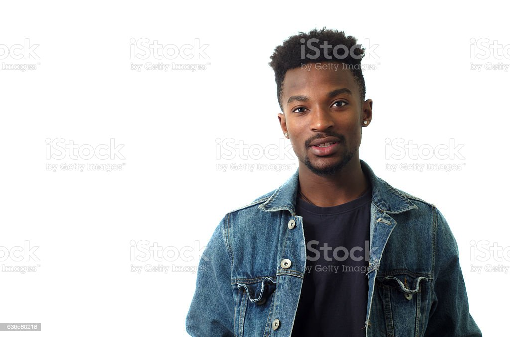 young man wearing blue jeans jacket on white background stock photo