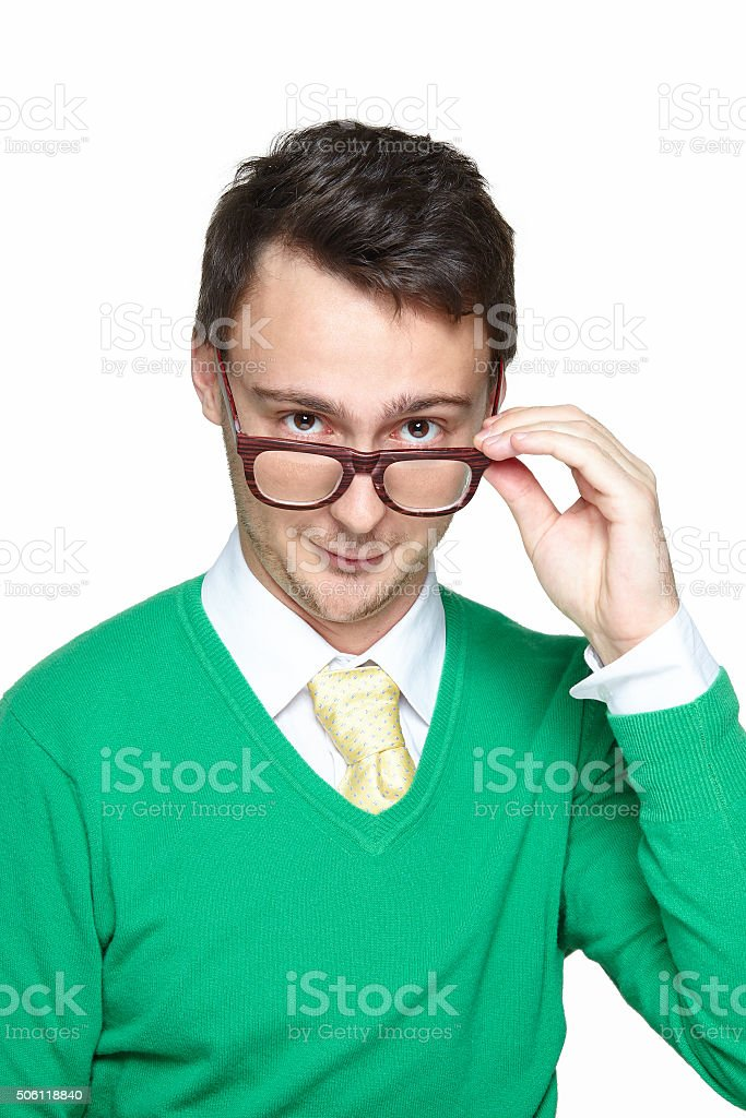Young man wearing eyeglasses stock photo