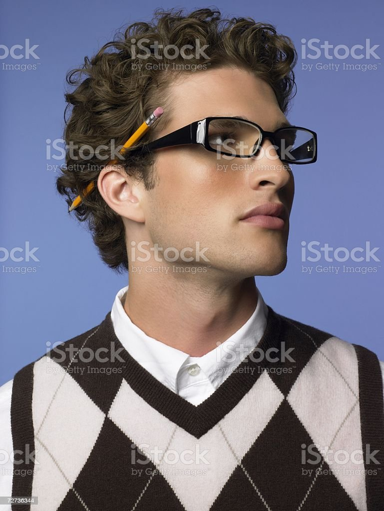 af1612ae876 Young Man Wearing Eyeglasses Stock Photo   More Pictures of Adult ...