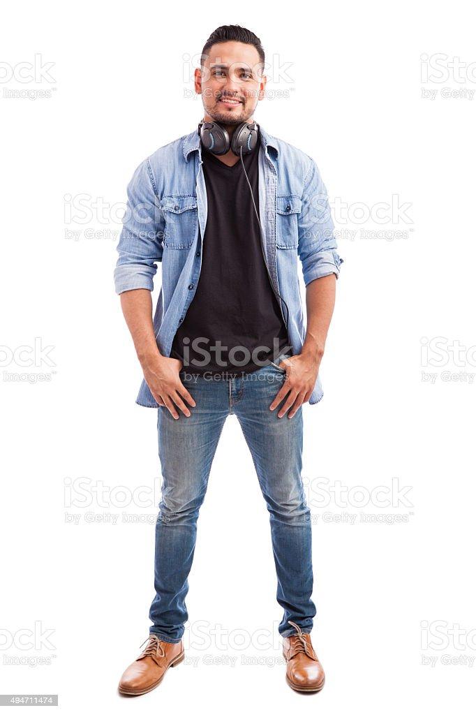 Young man wearing headphones stock photo
