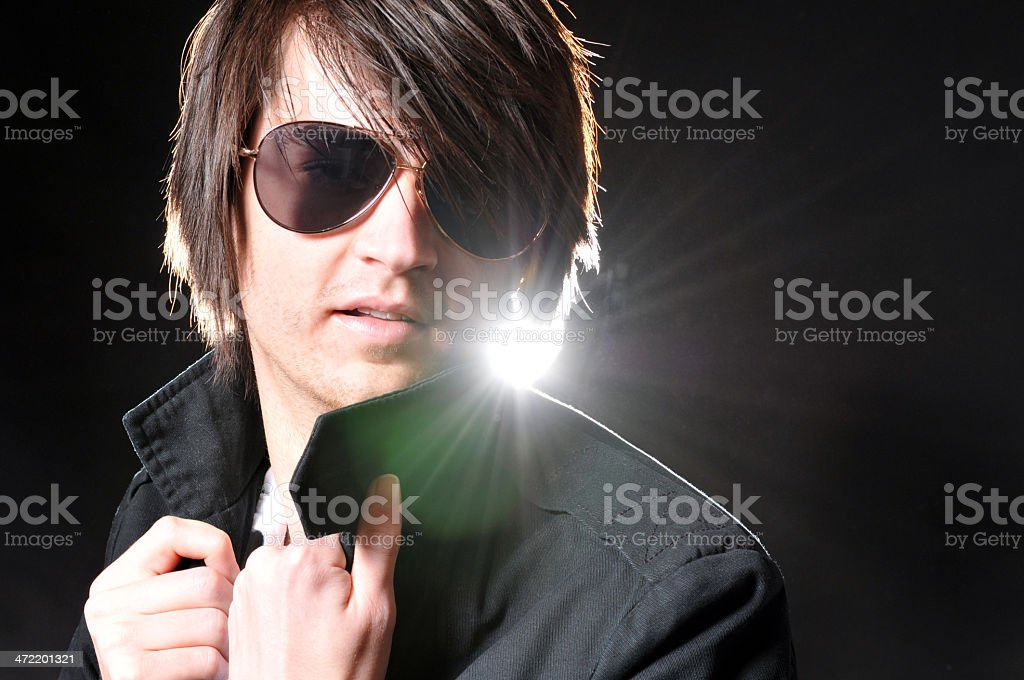 Young man Wearing Leather and Large Sunglasses royalty-free stock photo