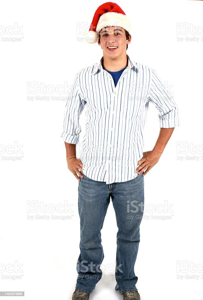 Young Man Wearing Santa Hat royalty-free stock photo
