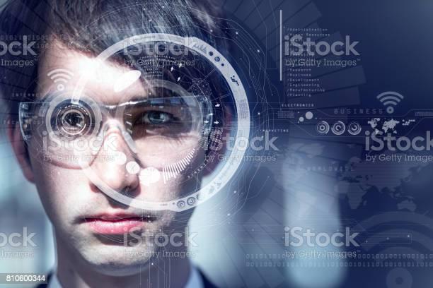 Young man wearing smart glasses heads up display wearable computing picture id810600344?b=1&k=6&m=810600344&s=612x612&h=v1zffuawzvb13kcc7yu8uui6t8 gmcd7l8vediwinfu=