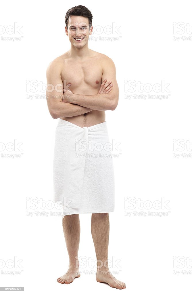 Young man wearing towel stock photo