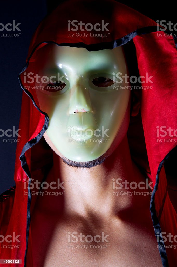 Young man wearing white mask stock photo