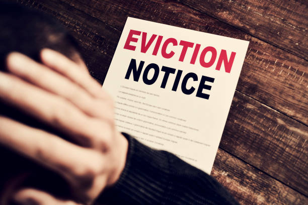 young man who has received an eviction notice a young caucasian man with his hands in his head concerned because has just received an eviction notice information sign stock pictures, royalty-free photos & images