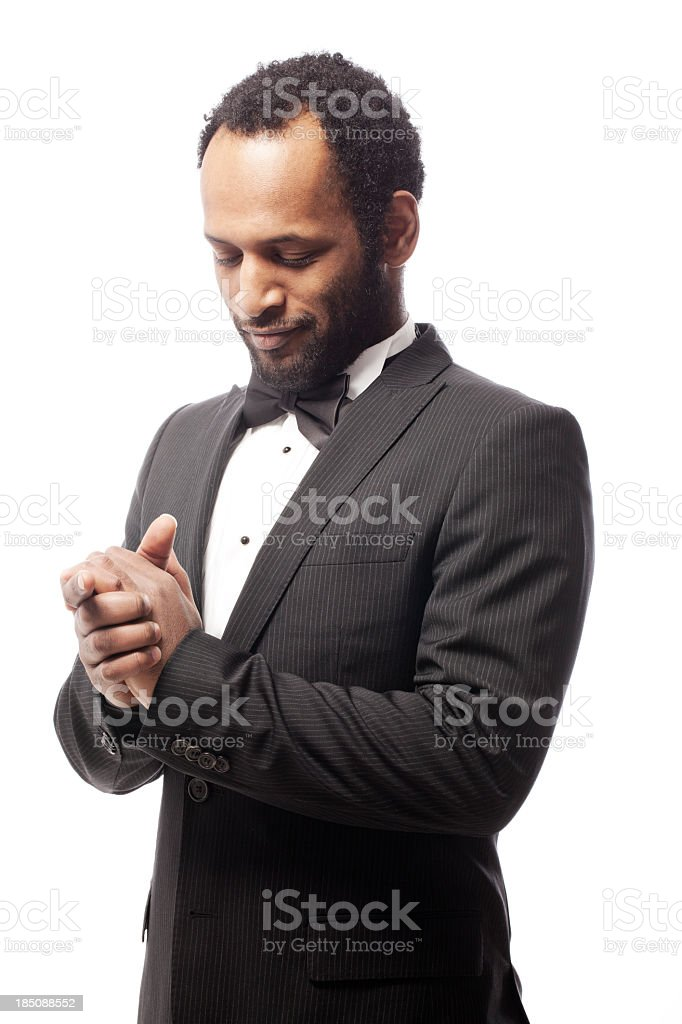 Young man with a  bow tie stock photo