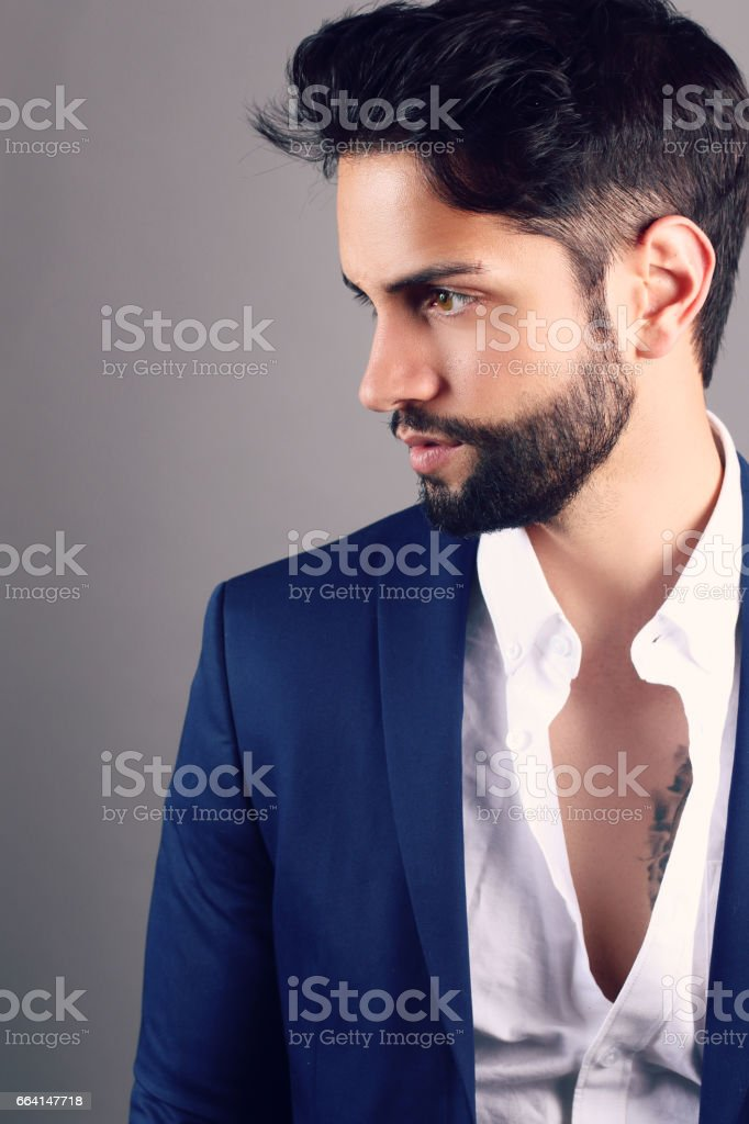 Young man with a fashion hairstyle foto stock royalty-free