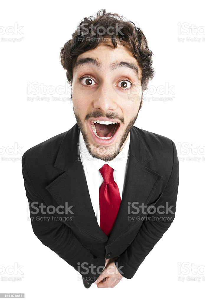 Young man with a funny shocked expression stock photo