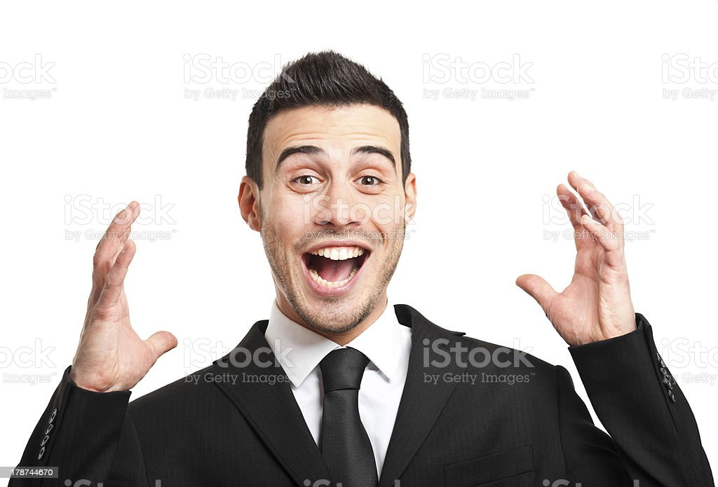 Young man with a funny shocked expression royalty-free stock photo