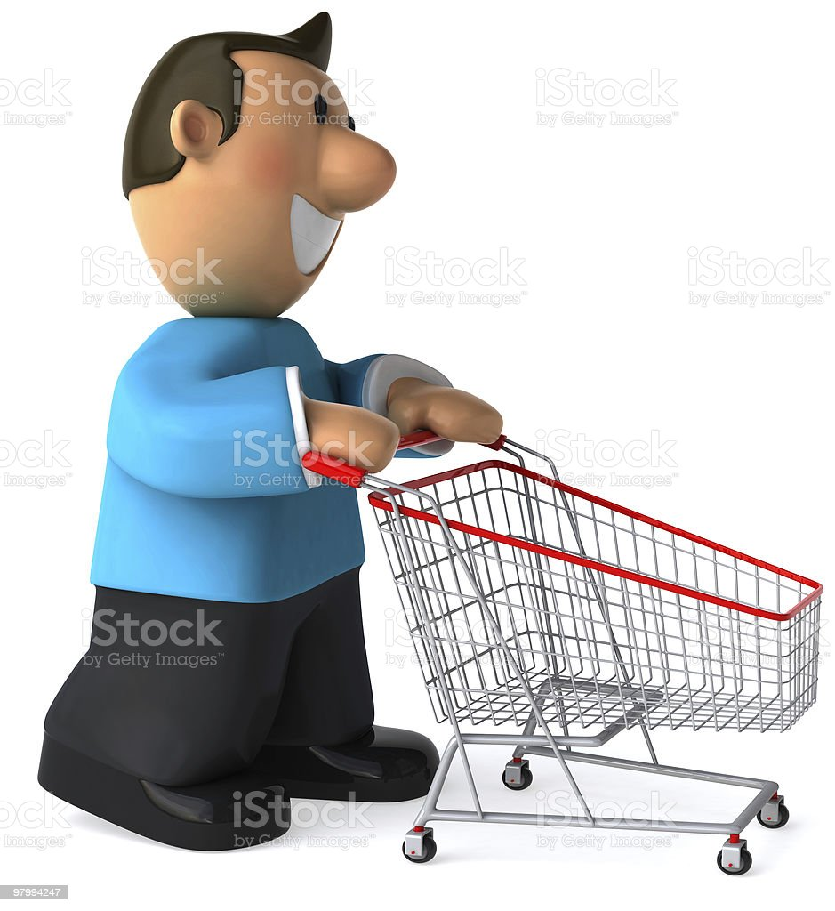 Young man with a shopping cart royalty-free stock photo