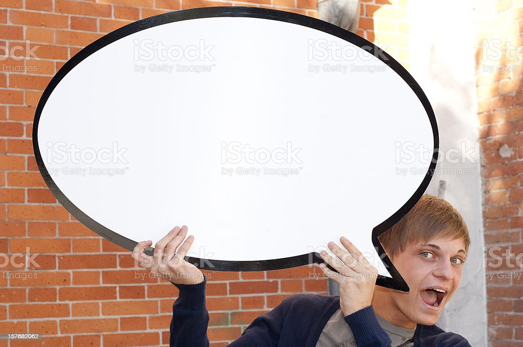 Young Man with a Speech Bubble royalty-free stock photo