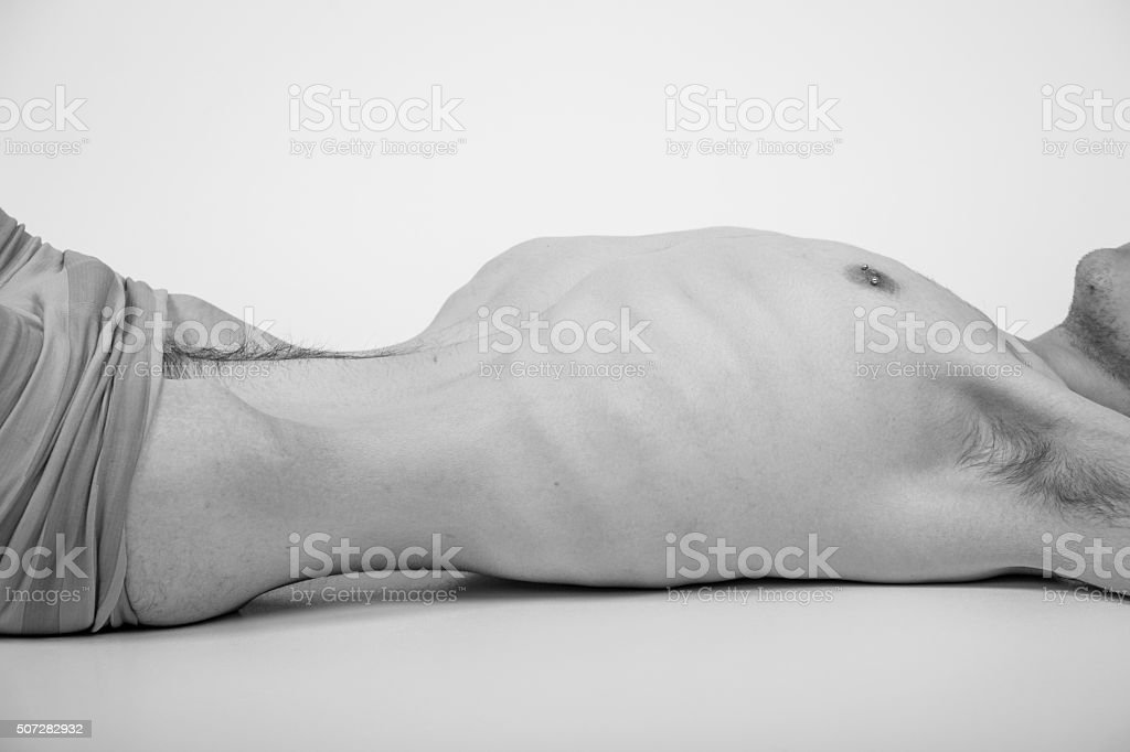 Young man with anorexia nervosa problem. bildbanksfoto