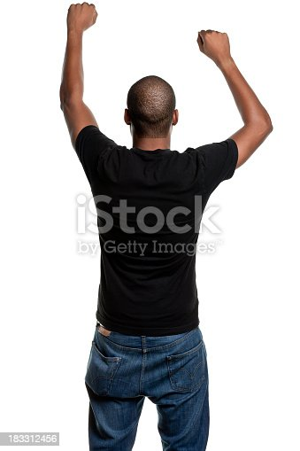 istock Young Man With Arms Up, Shaking Fists, Rear View 183312456