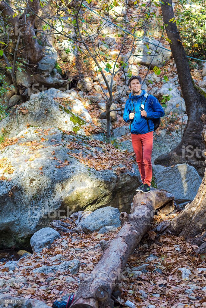 Young Man with Backpack walking on fallen Tree Stalk stock photo