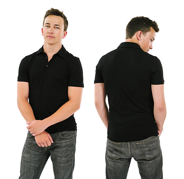 Young man with blank black polo shirt stock photo