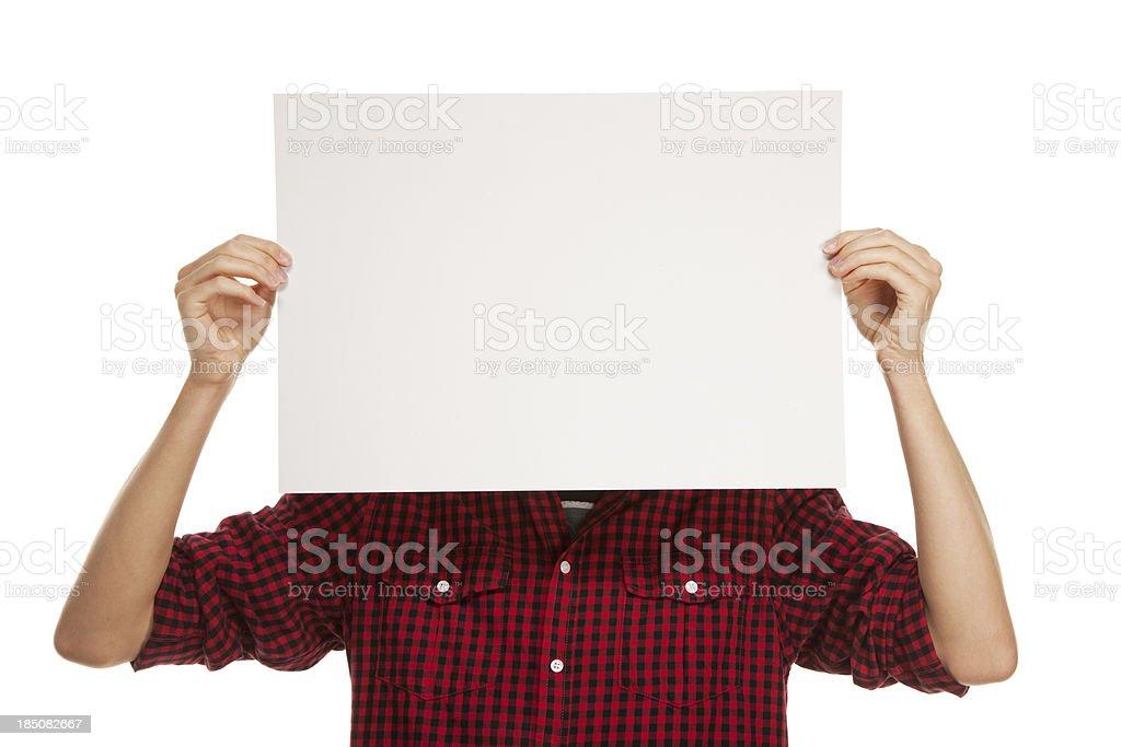 Junger Mann mit leeren Papier – Foto