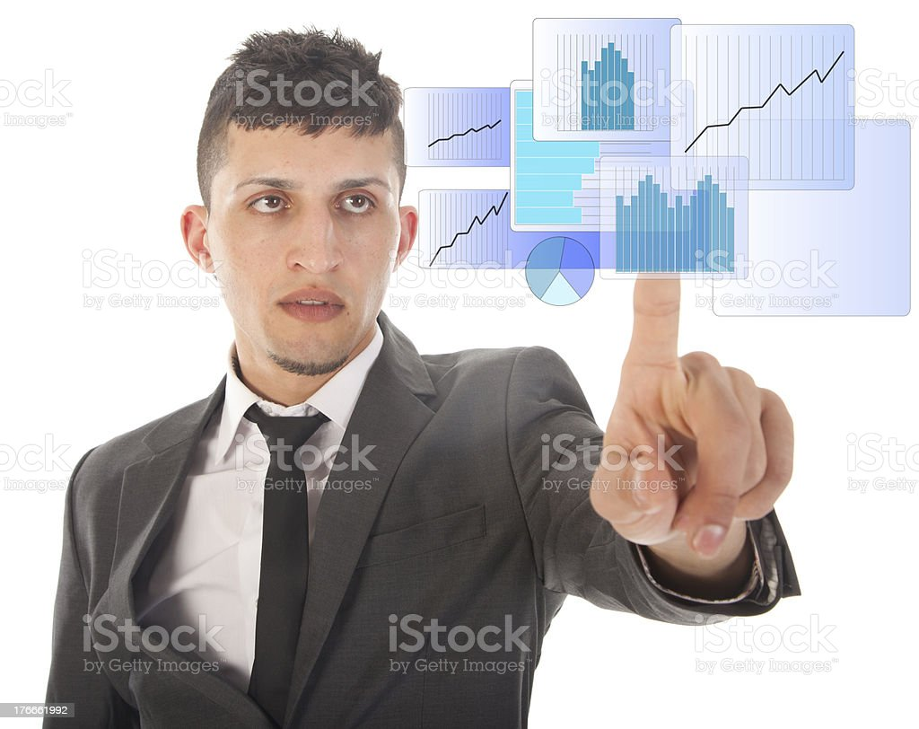 Young man with blue virtual graph isolated on white background royalty-free stock photo