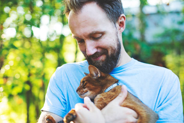 Young man with cat stock photo